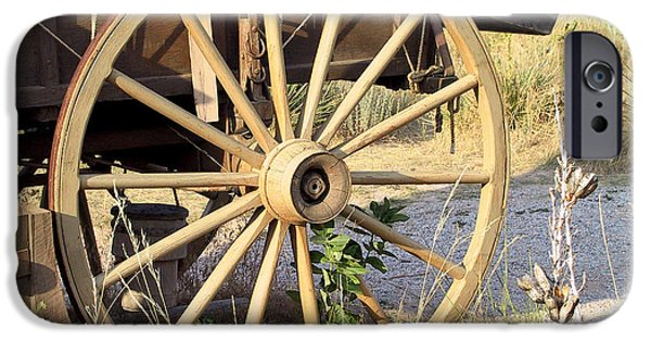 Pioneer Scene iPhone Cases - Fort Laramie WY - Moving west on wagon wheels iPhone Case by Christine Till