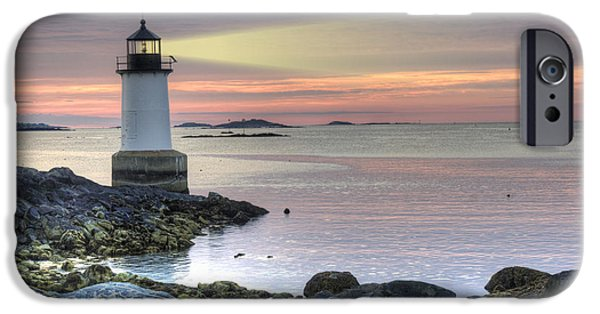 New England Lighthouse iPhone Cases - Fort Pickering Lighthouse at Sunrise iPhone Case by Juli Scalzi