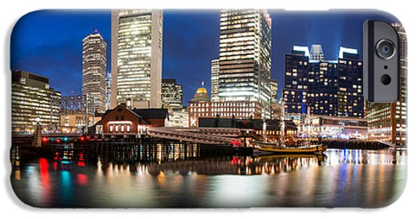 Tea Party iPhone Cases - Fort Point Channel Panoramic iPhone Case by Josh Whalen