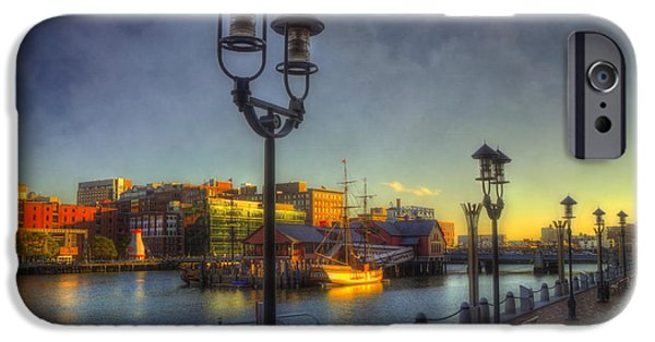 Tea Party iPhone Cases - Fort Point Channel Sunset - Boston iPhone Case by Joann Vitali