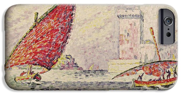 Sailing iPhone Cases - Fort Saint-jean, Marseilles, 1907 Oil On Canvas iPhone Case by Paul Signac
