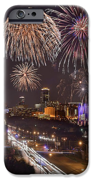Fort Worth Skyline At Night Fireworks Color Evening Ft. Worth Texas iPhone Case by Jon Holiday