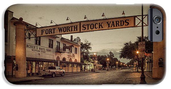 Sign iPhone Cases - Fort Worth StockYards iPhone Case by Joan Carroll