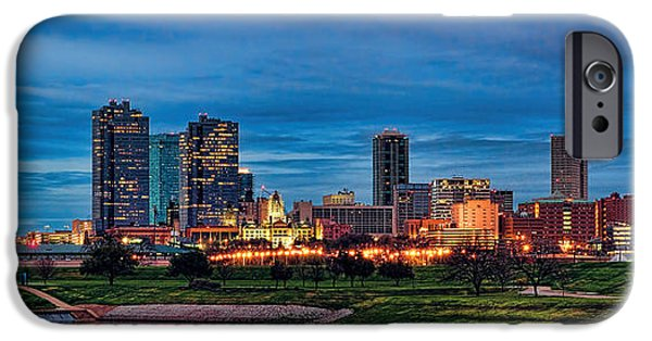 City Scape iPhone Cases - Fort Worth Sunset Skyline Panorama iPhone Case by Jonathan Davison