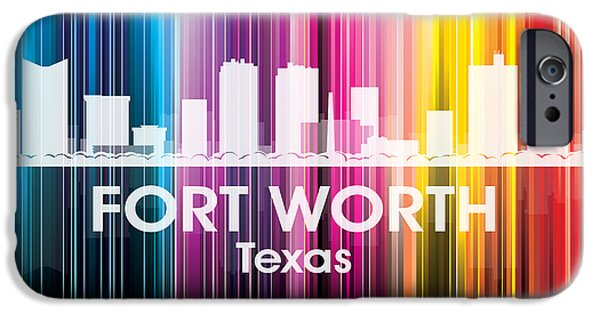 Buildings Mixed Media iPhone Cases - Fort Worth TX 2 iPhone Case by Angelina Vick