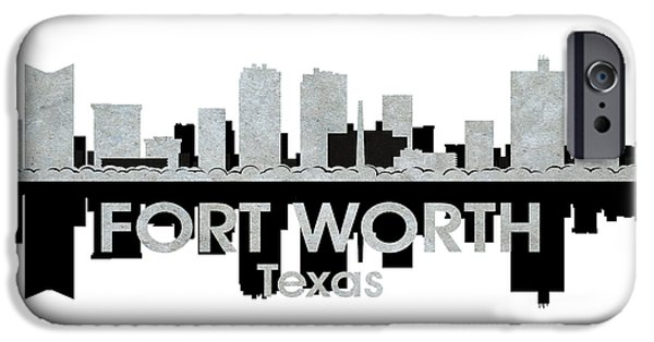 Buildings Mixed Media iPhone Cases - Fort Worth TX 4 iPhone Case by Angelina Vick