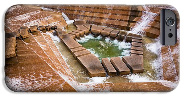 Downtown Stairs iPhone Cases - Fort Worth Water Gardens iPhone Case by Inge Johnsson