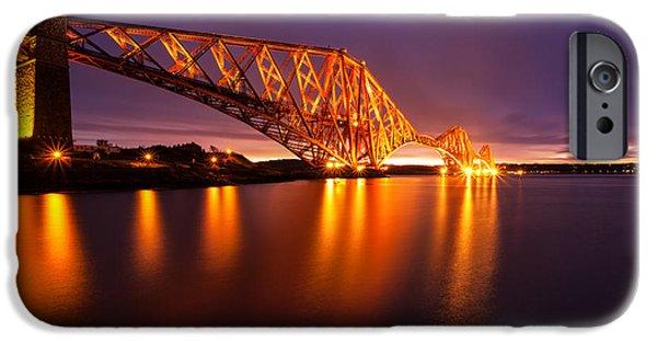 East Coast iPhone Cases - Forth Rail bridge Pre Dawn iPhone Case by John Farnan