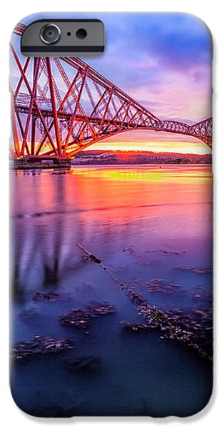 Forth Rail bridge stunning sunrise iPhone Case by John Farnan