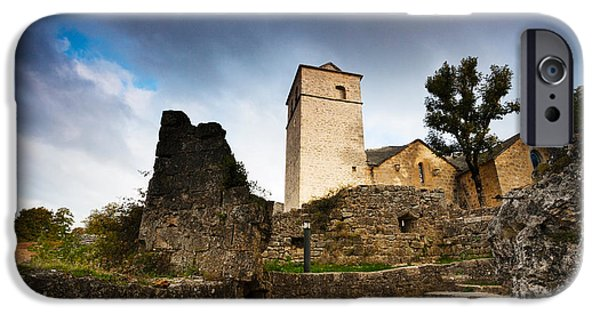 Midi iPhone Cases - Fortified Church At La Couvertoirade iPhone Case by Panoramic Images