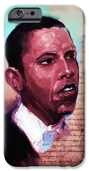 President Obama iPhone Cases - Forty Fourth  iPhone Case by Howard Barry