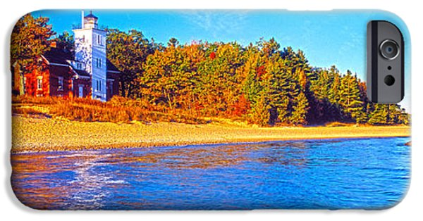 Lighthouse iPhone Cases - Forty Mile Point Lighthouse iPhone Case by Panoramic Images