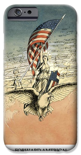 Flag Drawings iPhone Cases - Forward America iPhone Case by Aged Pixel