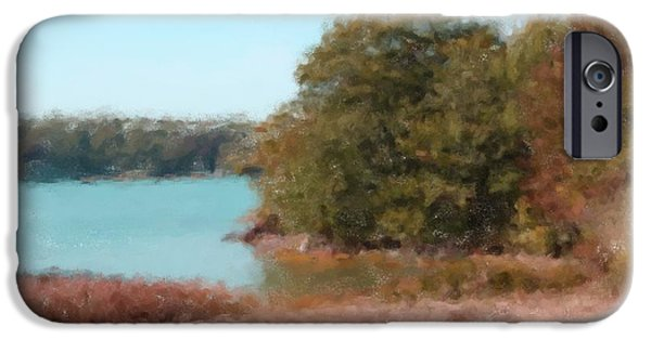 Maine Roads Paintings iPhone Cases - Fosters Point Road 1033 20140926 iPhone Case by Julie Knapp