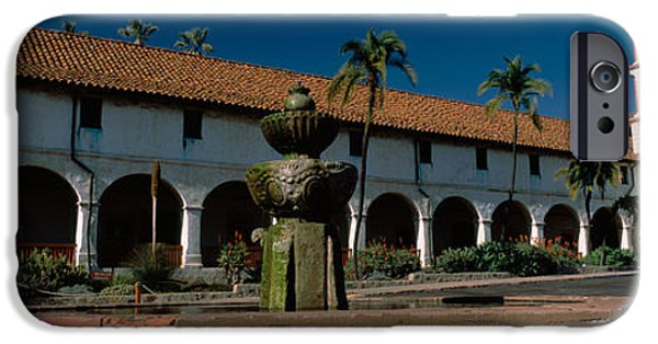 Santa iPhone Cases - Fountain At A Church, Mission Santa iPhone Case by Panoramic Images