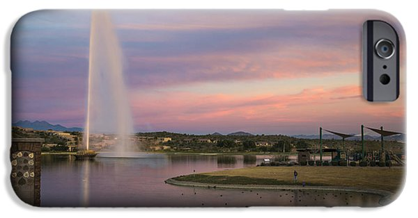 Reflecting Sunset iPhone Cases - Fountain at Fountain Hills Arizona iPhone Case by Dave Dilli