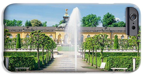 Garden Scene iPhone Cases - Fountain In A Garden, Potsdam, Germany iPhone Case by Panoramic Images