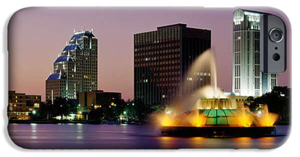 Built Structure iPhone Cases - Fountain In A Lake Lit Up At Night iPhone Case by Panoramic Images