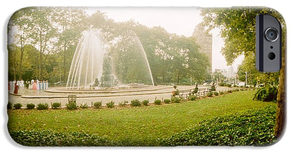 Prospects iPhone Cases - Fountain In A Park, Prospect Park iPhone Case by Panoramic Images