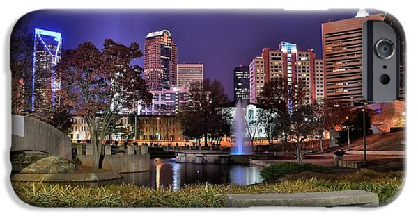 Charlotte iPhone Cases - Fountain in Marshall Park iPhone Case by Frozen in Time Fine Art Photography