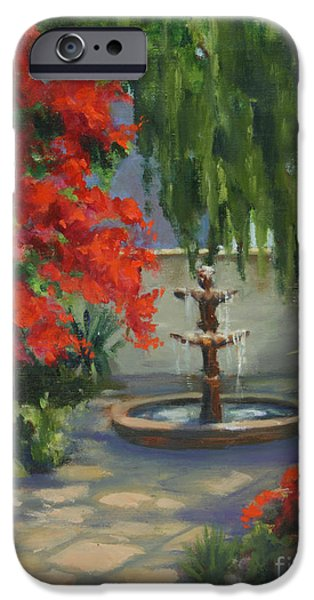 Business Paintings iPhone Cases - Fountain in the Courtyard iPhone Case by Maria Hunt