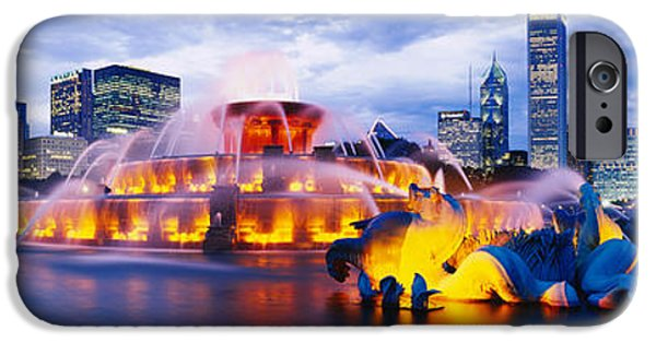 Park Scene iPhone Cases - Fountain Lit Up At Dusk, Buckingham iPhone Case by Panoramic Images
