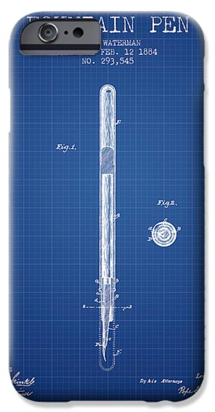 Pen Digital Art iPhone Cases - Fountain Pen patent from 1884 - Blueprint iPhone Case by Aged Pixel