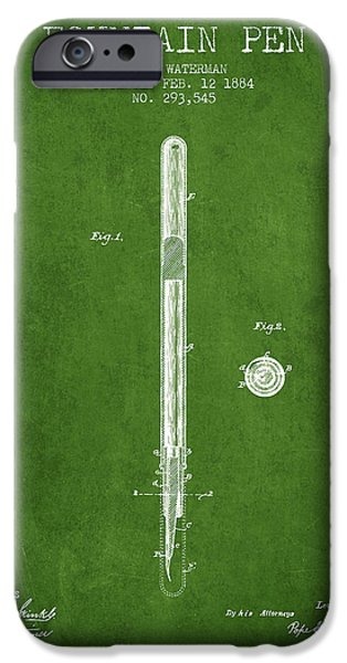 Pen Digital Art iPhone Cases - Fountain Pen patent from 1884 - Green iPhone Case by Aged Pixel