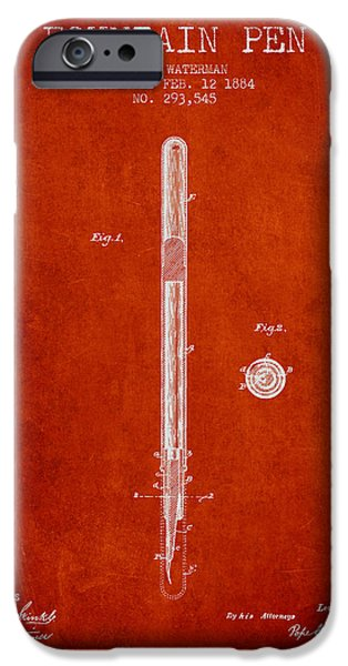 Pen Digital Art iPhone Cases - Fountain Pen patent from 1884 - Red iPhone Case by Aged Pixel
