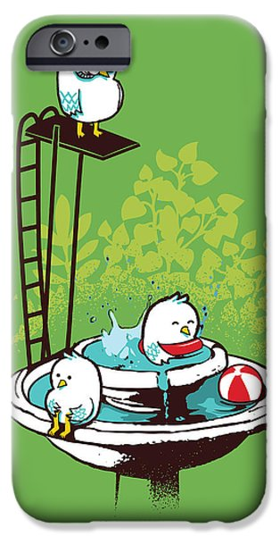 Fountain Pool party iPhone Case by Budi Satria Kwan