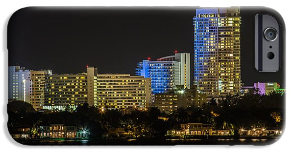 Fontain iPhone Cases - Fountainebleau Hotel Bayview Miami Beach Florida iPhone Case by Rene Triay Photography