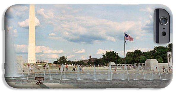 Flag iPhone Cases - Fountains At A Memorial, National World iPhone Case by Panoramic Images