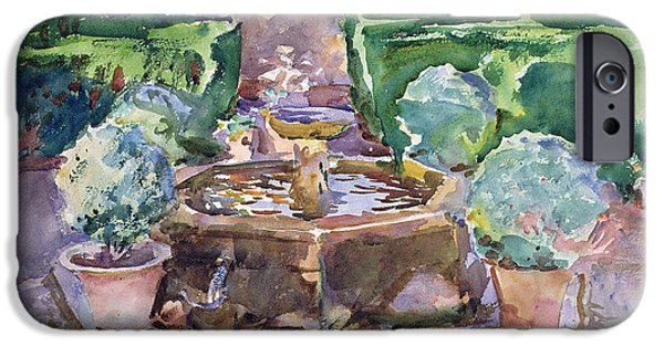 Snake iPhone Cases - Fountains In The Generalife, Granada Watercolour On Paper iPhone Case by John Singer Sargent