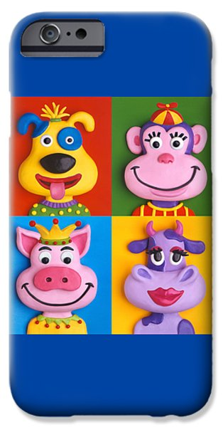 Child Sculptures iPhone Cases - Four Animal Faces iPhone Case by Amy Vangsgard