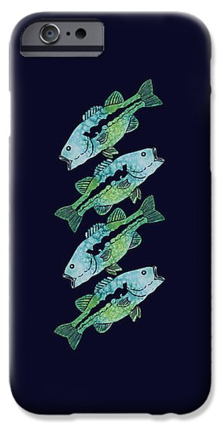Fresh Water Fish iPhone Cases - Four Bass iPhone Case by Jenny Armitage