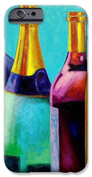 Wine Canvas Paintings iPhone Cases - Four Bottles iPhone Case by John  Nolan