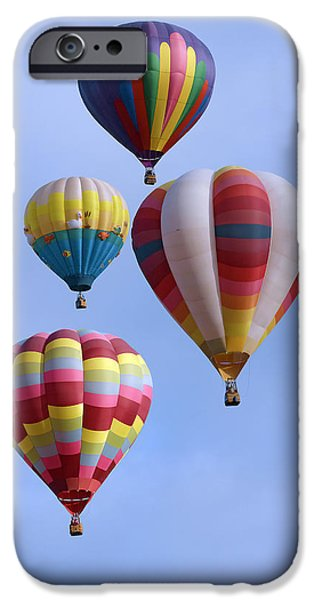 Sw New Mexico iPhone Cases - Four Colorful Balloons W3303 iPhone Case by Wes and Dotty Weber