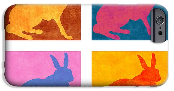 Rabbit iPhone Cases - Four Colorful Rabbits iPhone Case by Carol Leigh