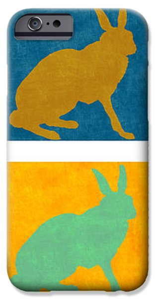 Rabbit iPhone Cases - Four Colorful Rabbits Vertical iPhone Case by Carol Leigh
