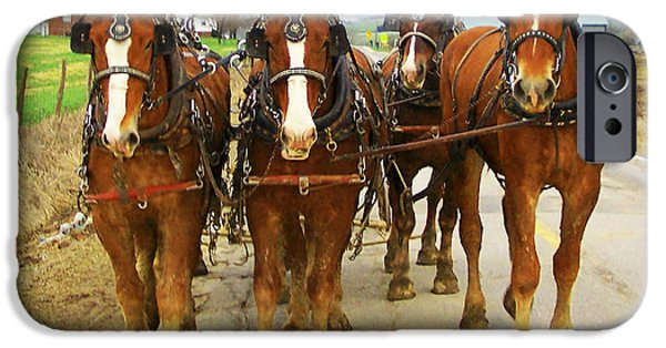 Amish Photographs iPhone Cases - Four Horse Power iPhone Case by B Wayne Mullins
