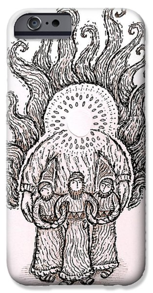 Son Of God Drawings iPhone Cases - Four in the Fiery Furnace iPhone Case by Jonathan Edward Shaw