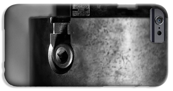 Work Tool iPhone Cases - Four Jaw Chuck Black and White iPhone Case by Wilma  Birdwell