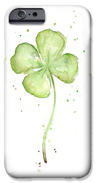 Florals iPhone Cases - Four Leaf Clover Lucky Charm iPhone Case by Olga Shvartsur