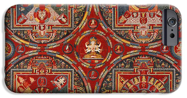 Tibetan Buddhism iPhone Cases - Four Mandalas of the Vajravali Series iPhone Case by Tilen Hrovatic