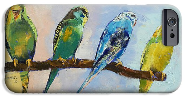 Parakeet iPhone Cases - Four Parakeets iPhone Case by Michael Creese