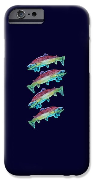 Fresh Water Fish iPhone Cases - Four Rainbow Trout iPhone Case by Jenny Armitage
