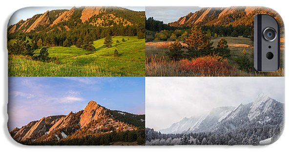 Landscape With Mountains iPhone Cases - Four Seasons - The Flatirons iPhone Case by Aaron Spong