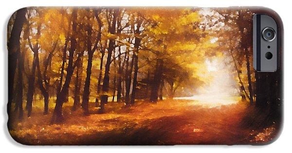Autumn Landscape Mixed Media iPhone Cases - Four Seasons Autumn Impressions At Dawn iPhone Case by Georgiana Romanovna