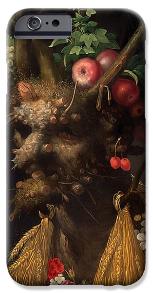 Recently Sold -  - Strange iPhone Cases - Four Seasons in One Head iPhone Case by Giuseppe Archimboldo