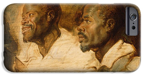Rubens iPhone Cases - Four Studies of Male Head iPhone Case by Peter Paul Rubens